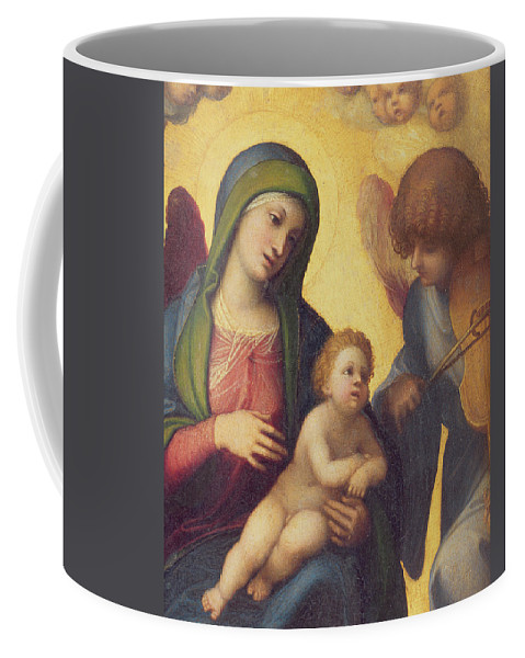 Madonna Coffee Mug featuring the painting Madonna And Child With Angels by Correggio