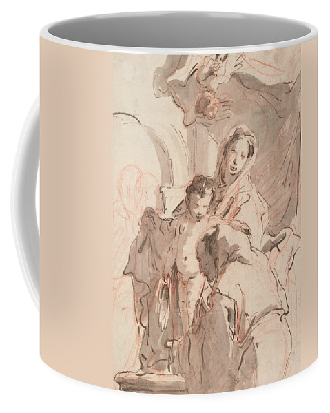 Italian Artist Coffee Mug featuring the drawing Madonna And Child With Saint by Giovanni Battista Tiepolo