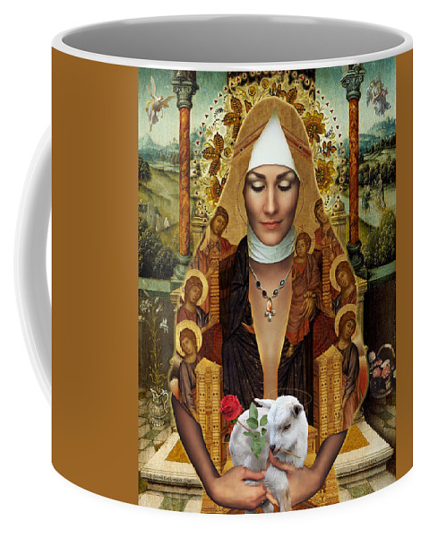 Madonna Coffee Mug featuring the painting Madonna Della Rosa by Steve Lockwood