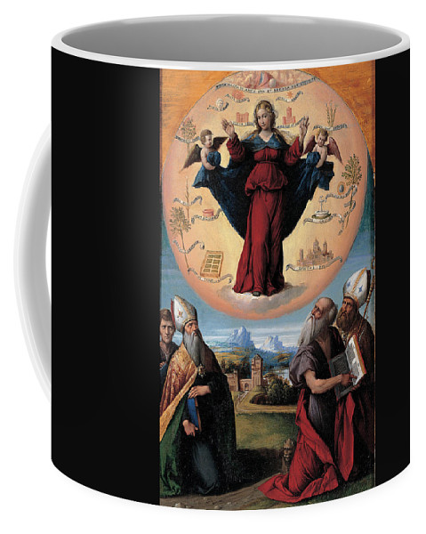 Benvenuto Tisi Coffee Mug featuring the painting Madonna In Glory And Holy Hones by Benvenuto Tisi