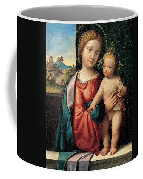 Benvenuto Tisi Coffee Mug featuring the painting Madonna With The Child by Benvenuto Tisi