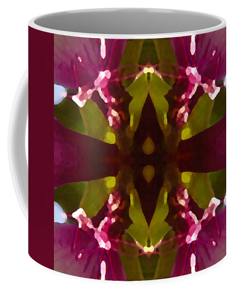 Abstract Painting Coffee Mug featuring the digital art Magent Crystal Flower by Amy Vangsgard