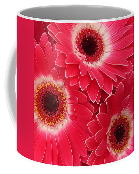 Daisy Coffee Mug featuring the painting Magenta Gerber Daisies by Amy Vangsgard