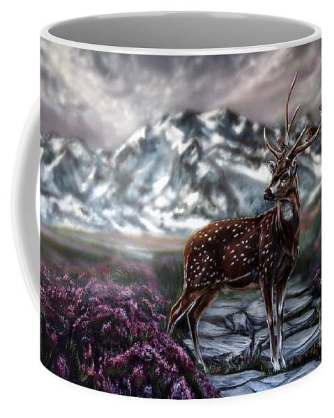 Deer Coffee Mug featuring the painting Magesty by Lachri