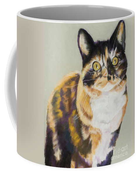 Calico Coffee Mug featuring the painting Maggie Mae by Pat Saunders-White