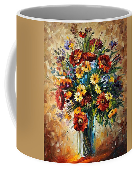 Afremov Coffee Mug featuring the painting Magic Flowers by Leonid Afremov