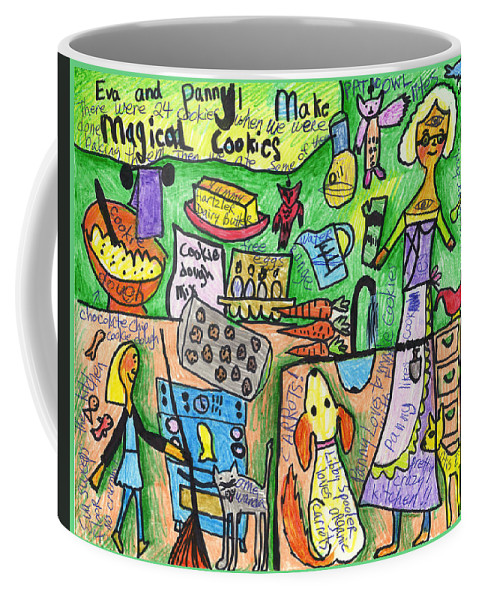 Susan Shie Coffee Mug featuring the drawing Magical Cookies A Collaboration With Eva Miller by Susan Shie