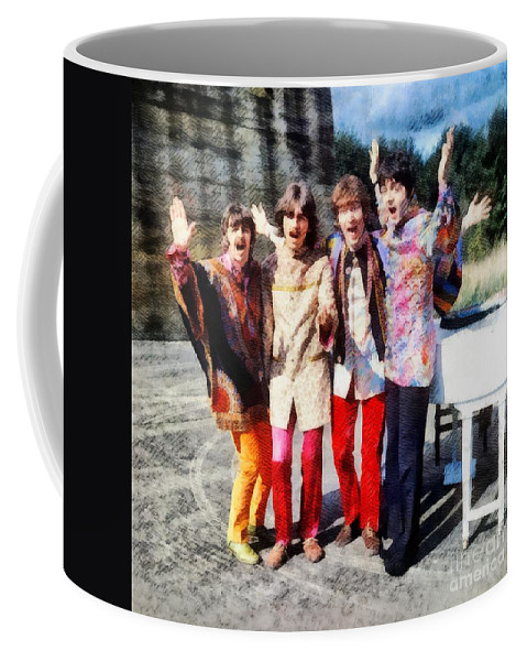 Hollywood Coffee Mug featuring the painting Magical Mystery Tour, The Beatles by Esoterica Art Agency