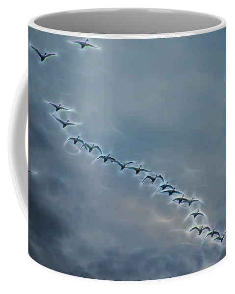 Tundra Swan Coffee Mug featuring the photograph Magical Tundra Swan Fly-over by Beth Sawickie