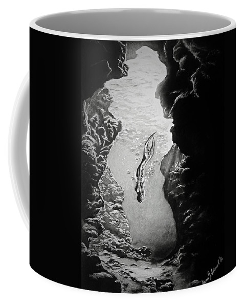 Water Coffee Mug featuring the drawing Magical Underwater Cave by Yana Gifford