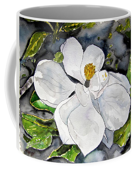 Magnolia Coffee Mug featuring the painting Magnolia Tree Flower by Derek Mccrea