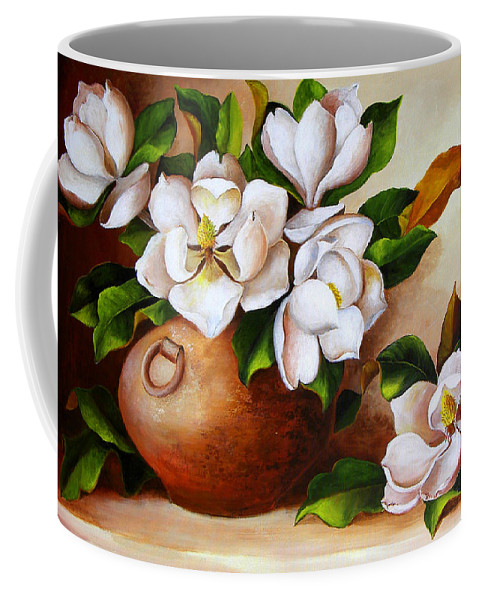 Clay Pot Coffee Mug featuring the painting Magnolias In A Clay Pot by Dominica Alcantara