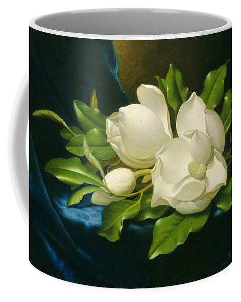 Martin Johnson Heade Coffee Mug featuring the painting Magnolias On A Blue Velvet Cloth by Martin Johnson Heade