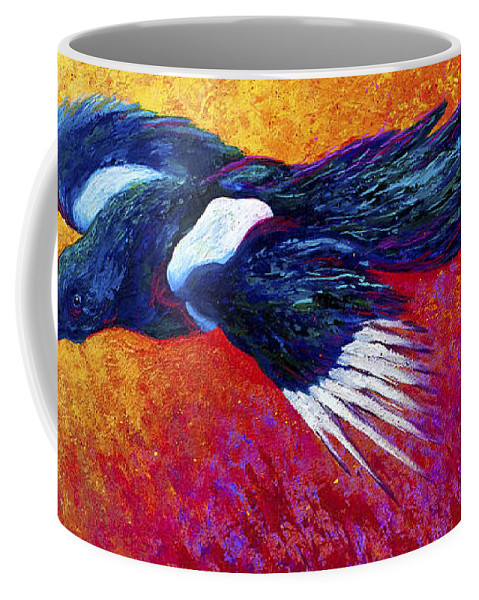 Crows Coffee Mug featuring the painting Magpie In Flight by Marion Rose