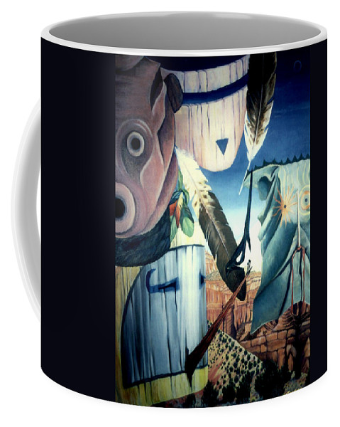 Southwest Art Coffee Mug featuring the painting Magpie Mocks Kachinas Clowns And Fools by Anastasia Savage Ealy