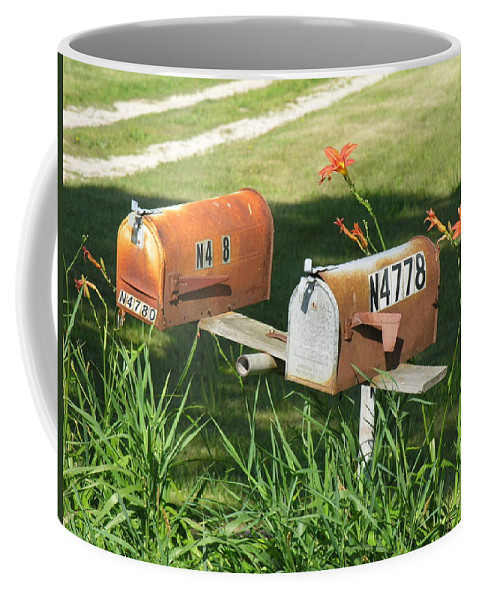 Mailboxes Coffee Mug featuring the photograph Mail Boxes by Diane Greco-Lesser