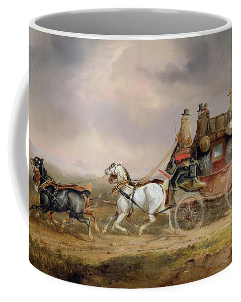 Mail Coffee Mug featuring the painting Mail Coaches On The Road - The Louth-london Royal Mail Progressing At Speed by Charles Cooper Henderson