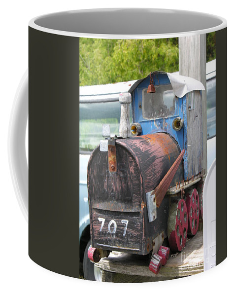 Blue Coffee Mug featuring the photograph Mail Truck by Diane Greco-Lesser