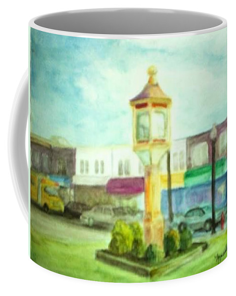 Clock Coffee Mug featuring the painting Main Street by Sheila Mashaw