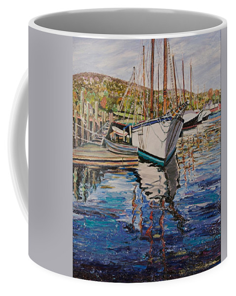 Maine Coffee Mug featuring the painting Maine Coast Boat Reflections by Richard Nowak