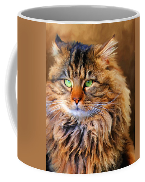 Maine Coon Coffee Mug featuring the painting Maine Coon Cat by Jai Johnson