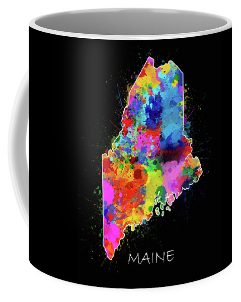 Maine Coffee Mug featuring the digital art Maine Map Color Splatter 2 by Bekim M