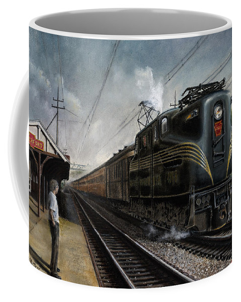 Trains Coffee Mug featuring the painting Mainline Memories by David Mittner
