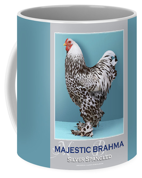 Poultry Coffee Mug featuring the digital art Majestic Brahma Silver Spangled by Sigrid Van Dort