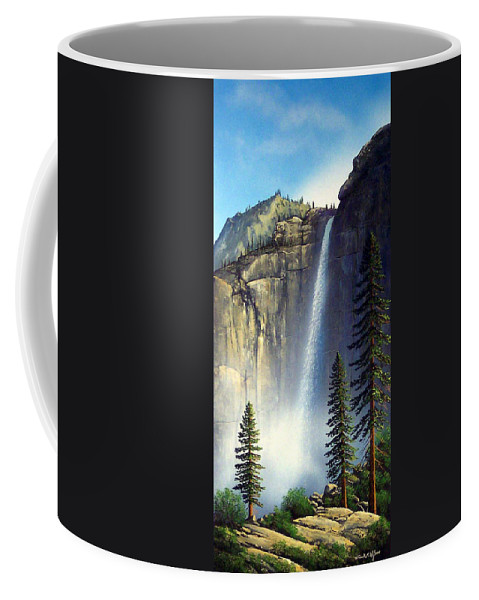 Landscape Coffee Mug featuring the painting Majestic Falls by Frank Wilson