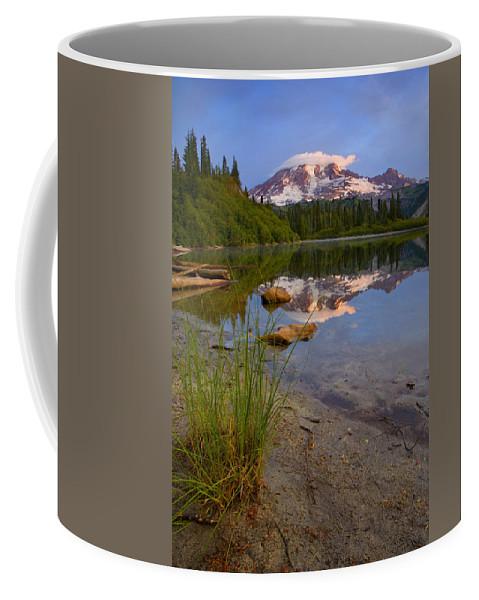 Mt. Rainier Coffee Mug featuring the photograph Majestic Glow by Mike Dawson