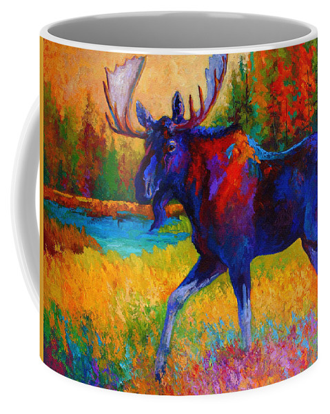 Moose Coffee Mug featuring the painting Majestic Monarch - Moose by Marion Rose