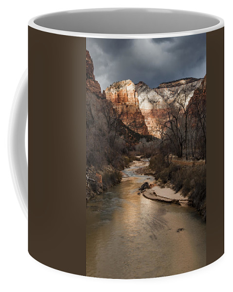 Zion Coffee Mug featuring the photograph Majestic Mountains-zion by Rob Travis