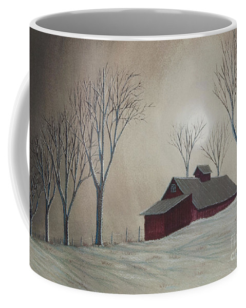 Winter Scene Paintings Coffee Mug featuring the painting Majestic Winter Night by Charlotte Blanchard