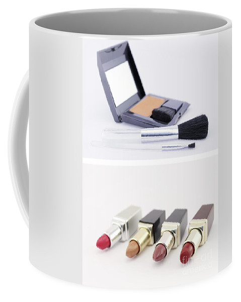 Brush Coffee Mug featuring the photograph Make Up Set And Lipsticks by Daniel Ghioldi