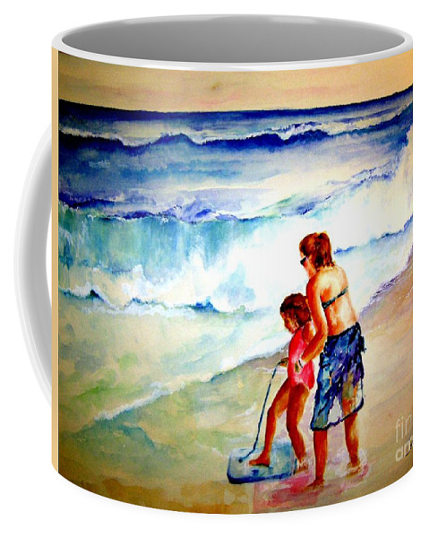 Beach Surf Coffee Mug featuring the painting Making A Memory by Sandy Ryan
