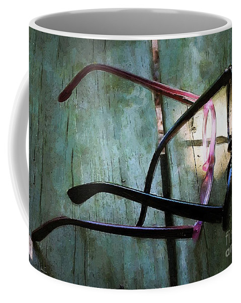 Eyeglasses Coffee Mug featuring the painting Making A Spectacle Of Themselves by RC DeWinter