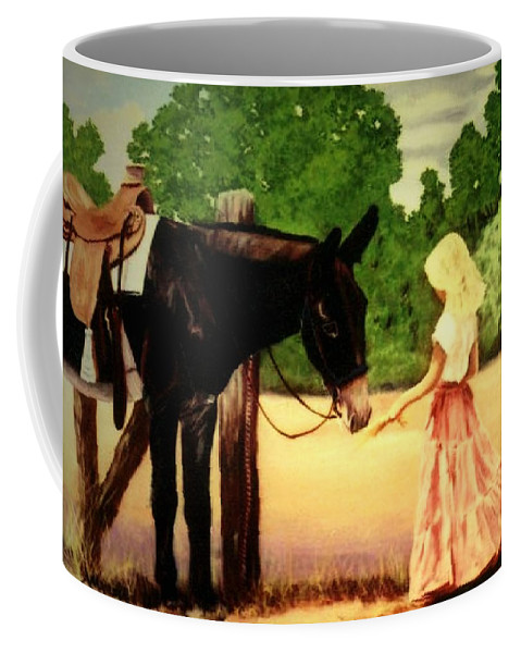 Donkey Coffee Mug featuring the painting Making Friends With Big Jack by Anastasia Savage Ealy
