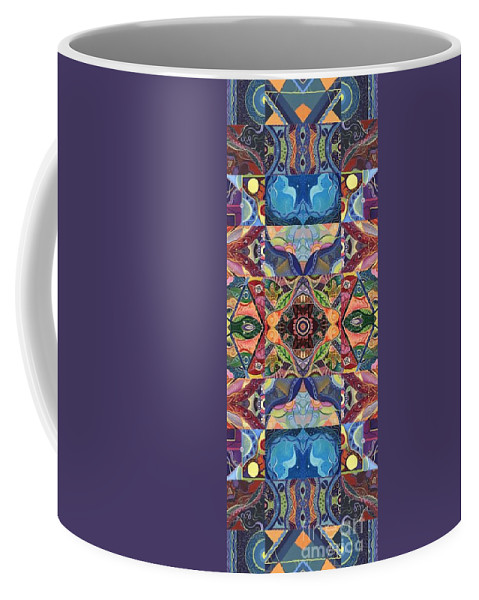 Abstract Coffee Mug featuring the mixed media Making Magic - A T J O D Arrangement by Helena Tiainen