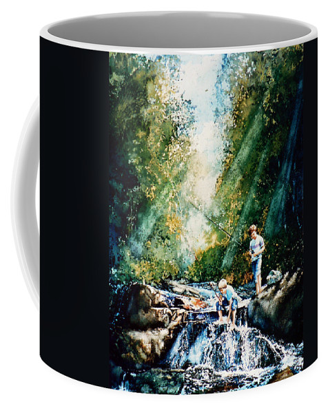 Boys Fishing Creek Print Coffee Mug featuring the painting Making Memories by Hanne Lore Koehler