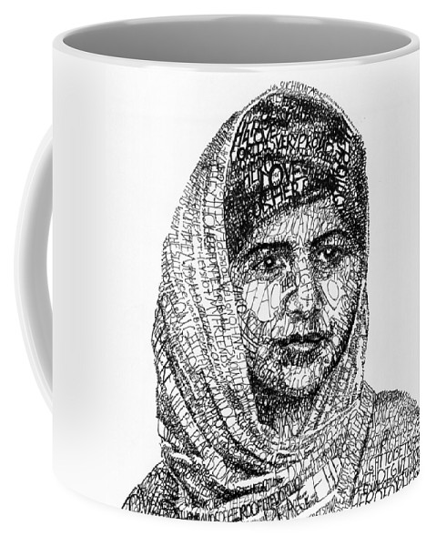 Girl Coffee Mug featuring the drawing Malala Yousafzai by Michael Volpicelli