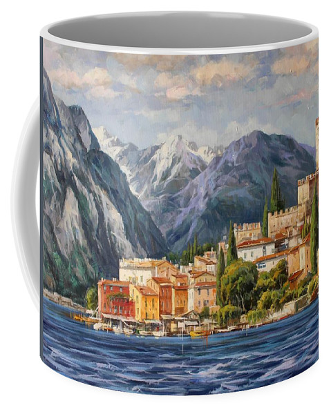 Gardasee Coffee Mug featuring the painting Malcesine Castle, Lago Di Garda by Lucio Campana