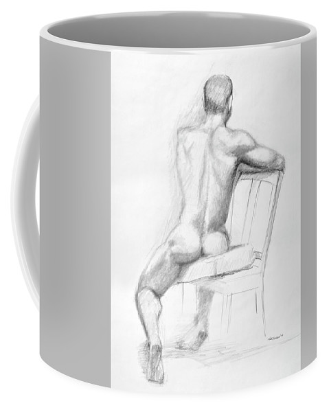 Male Coffee Mug featuring the drawing Male Nude With Chair by Keith Burgess