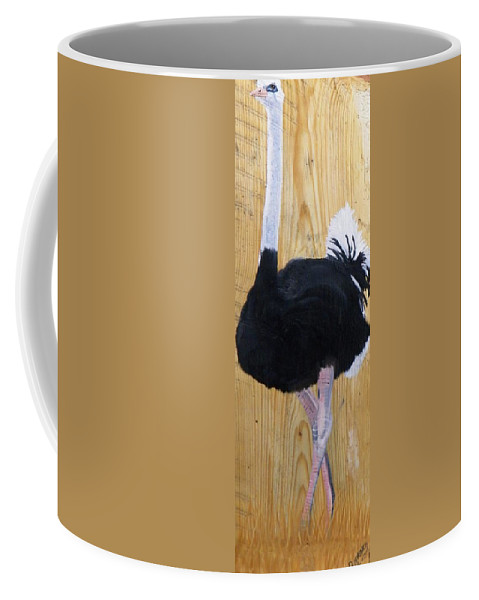 Ostrich Coffee Mug featuring the painting Male Ostrich On Wood by Debbie LaFrance