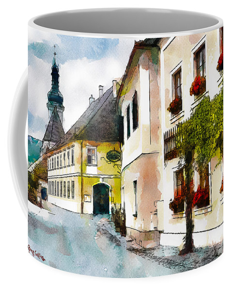 Austria Coffee Mug featuring the painting Malerische by Greg Collins