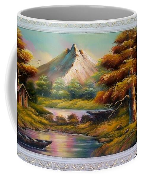 Lans/sea Scape Coffee Mug featuring the painting Malibu Hill by Doyin Johnson