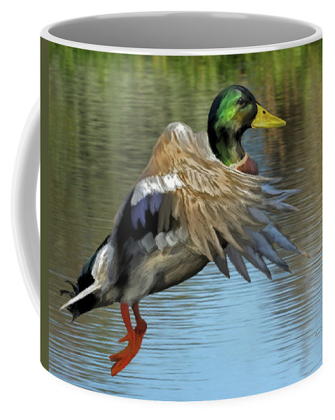 Animals Coffee Mug featuring the painting Mallard Digital Freehand Painting 3 by Ernie Echols