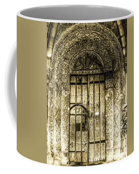 Doors Of The World Series By Lexa Harpell Coffee Mug featuring the photograph Malmesbury Abbey Entrance by Lexa Harpell