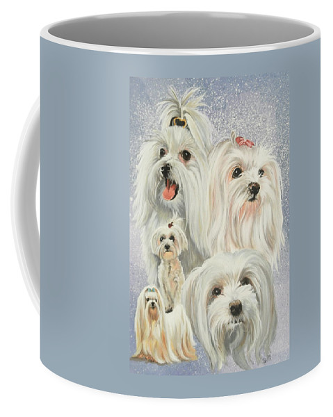 Dog Coffee Mug featuring the painting Maltese Collage by Barbara Keith