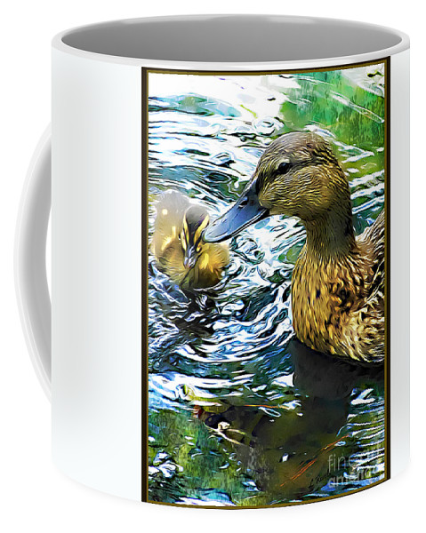 Duck Coffee Mug featuring the photograph Mama And Chick by Leslie Revels