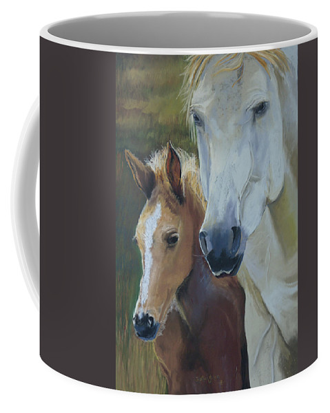 Horses Coffee Mug featuring the painting Mama's Boy by Heather Coen